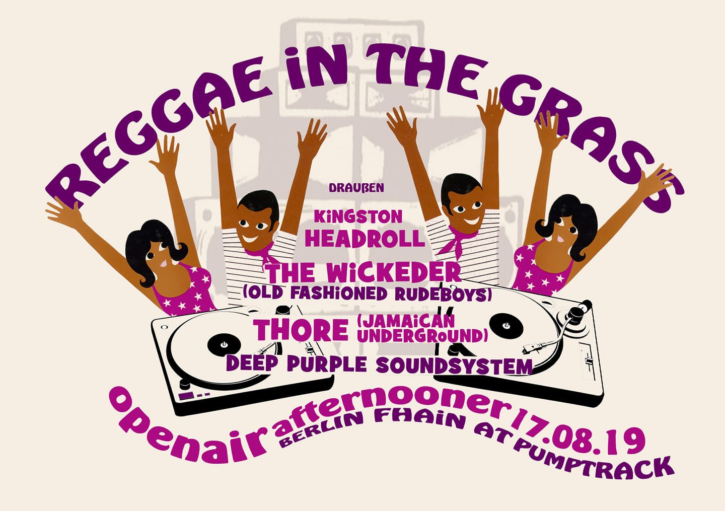 flyer for the event: reggae in the grass (open air)