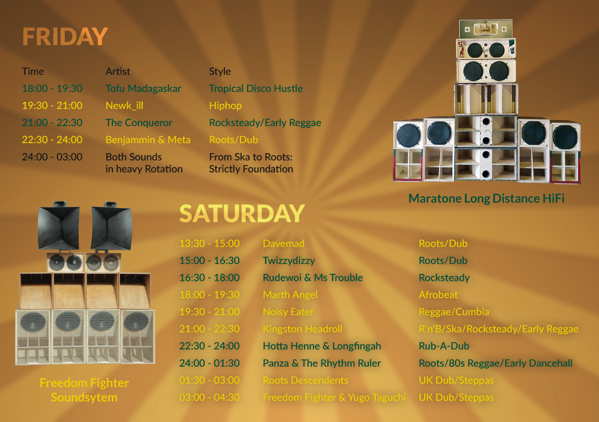 Timetable for the Soundystem Floor at OBOA with Freedom Fighter Soundystem and Maratone Long Distance HiFi